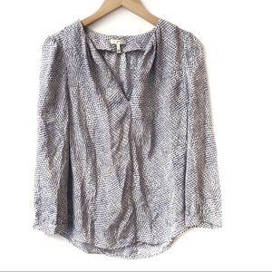 Joie silk long sleeve printed blouse purple black